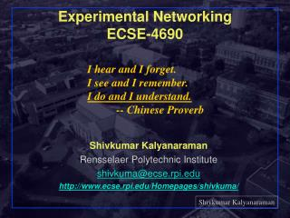 Experimental Networking ECSE-4690