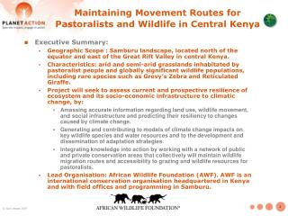 Maintaining Movement Routes for Pastoralists and Wildlife in Central Kenya
