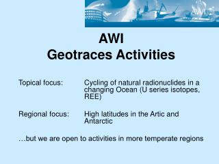 AWI  Geotraces Activities