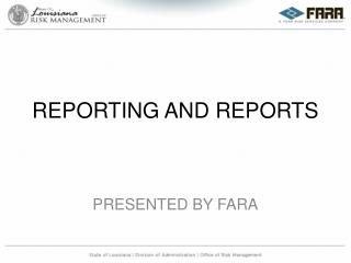 REPORTING AND REPORTS