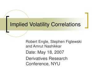 Implied Volatility Correlations