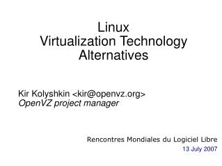 Linux Virtualization Technology Alternatives