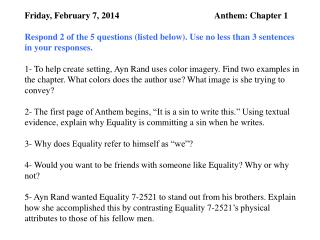 Friday, February 7, 2014                                           Anthem: Chapter 1