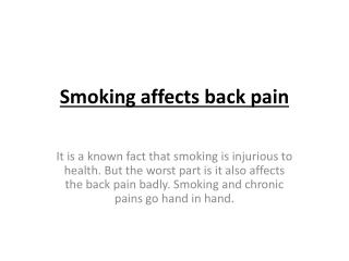 Smoking affects back pain