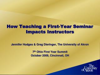 How Teaching a First-Year Seminar Impacts Instructors