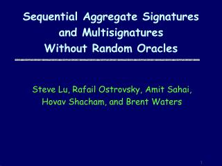 Sequential Aggregate Signatures  and Multisignatures Without Random Oracles
