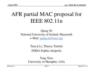 AFR partial MAC proposal for IEEE 802.11n