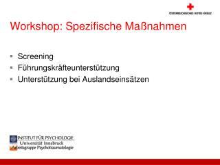 Workshop: Spezifische Maßnahmen