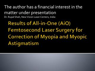 The author has a financial interest in the matter under presentation