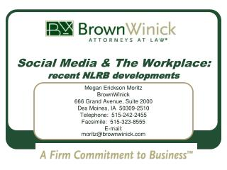 Social Media & The Workplace: recent NLRB developments