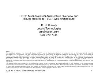 HRPD Multi-flow QoS Architecture Overview and Issues Related to TSG-A QoS Architecture