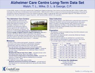 Alzheimer Care Centre Long-Term Data Set