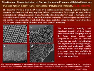 Creation and Characterization of Carbon Nanotube Foams and Related Materials Pulickel Ajayan  Ravi Kane, Rensselaer Poly