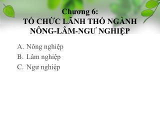 Chương 6: TỔ CHỨC LÃNH THỔ NGÀNH NÔNG-LÂM-NGƯ NGHIỆP