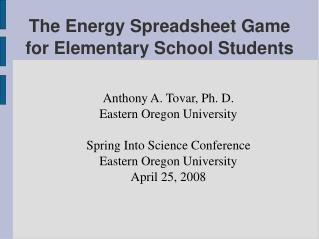 The Energy Spreadsheet Game  for Elementary School Students