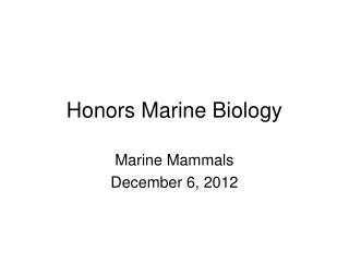 Honors Marine Biology