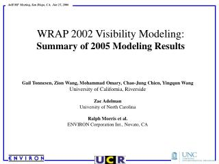 WRAP 2002 Visibility Modeling: Summary of 2005 Modeling Results