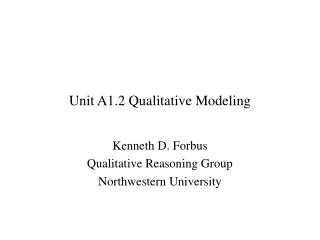Unit A1.2 Qualitative Modeling