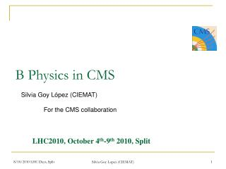 B Physics in CMS