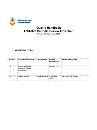 Quality Handbook AQH-I1Cf Periodic Review Flowchart Version 2.0 September 2011
