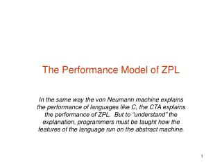 The Performance Model of ZPL