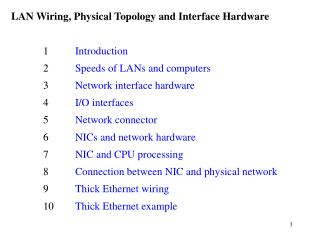 LAN Wiring, Physical Topology and Interface Hardware 	1 	 Introduction