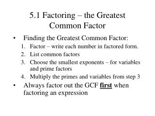 5.1 Factoring   the Greatest Common Factor