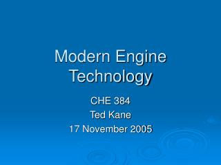 Modern Engine Technology