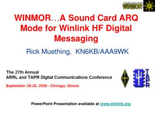WINMOR … A Sound Card ARQ Mode for Winlink HF Digital Messaging