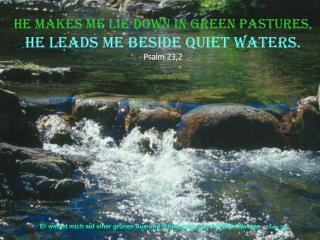 Er weidet mich auf einer grünen Aue und führet mich zum frischen Wasser.    Psalm 23,2