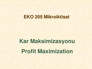 EKO 205 Mikroiktisat