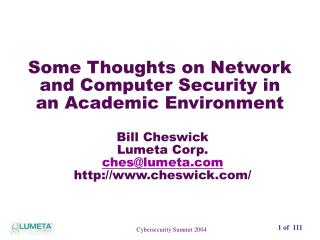 Some Thoughts on Network and Computer Security in an Academic Environment