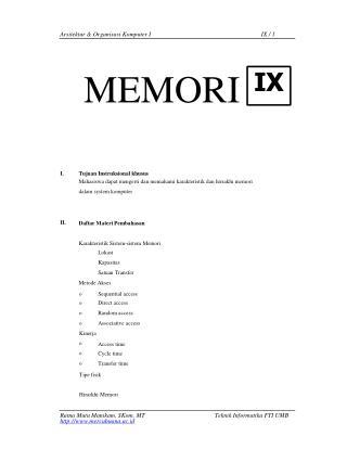 Arsitektur & Organisasi Komputer I MEMORI