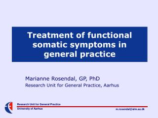 Treatment of functional somatic symptoms in  general practice
