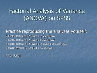 Factorial Analysis of Variance ANOVA on SPSS