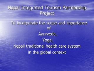 Nepal Integrated Tourism Partnership Project