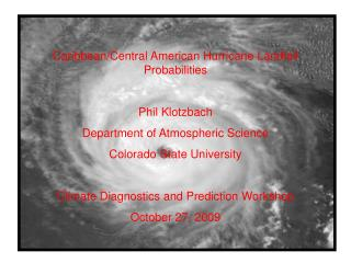 Caribbean/Central American Hurricane Landfall Probabilities Phil Klotzbach
