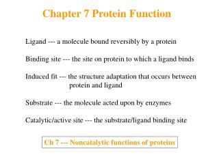 Chapter 7 Protein Function