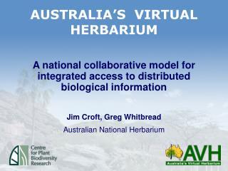 AUSTRALIA�S  VIRTUAL HERBARIUM
