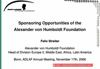 Sponsoring Opportunities of the  Alexander von Humboldt Foundation
