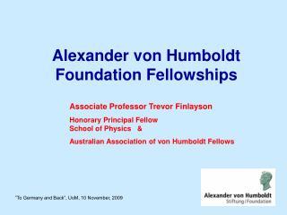 Alexander von Humboldt Foundation Fellowships