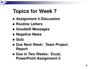 Topics for Week 7