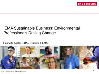 IEMA Sustainable Business: Environmental Professionals Driving Change
