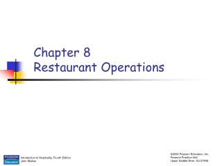 Chapter 8 Restaurant Operations