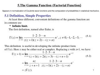 5.The Gamma Function Factorial Function