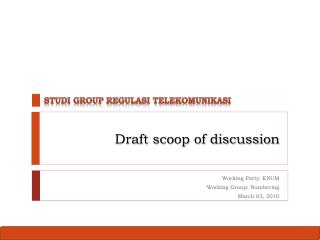 Draft scoop of discussion