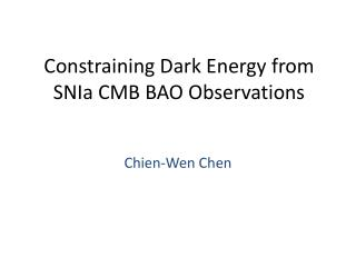 Constraining Dark Energy from SNIa CMB BAO Observations