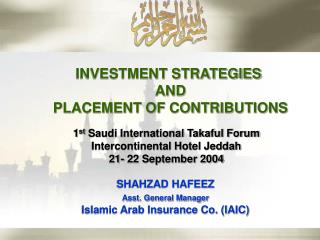 INVESTMENT STRATEGIES  AND PLACEMENT OF CONTRIBUTIONS