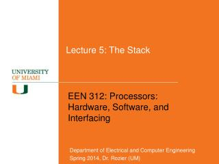 Lecture 5: The Stack