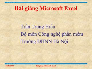 Bài  giảng Microsoft Excel